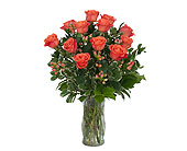 Orange Roses and Berries Vase in Prospect KY, Country Garden Florist