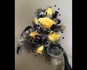 Black & Gold wrislet in New Iberia, Louisiana, Breaux's Flowers & Video Productions, Inc.