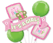 Welcome Little Girl Mylar Balloon Bouquet in Indianapolis IN, Steve's Flowers and Gifts
