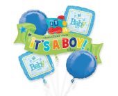 Welcome Little Boy Mylar Balloon Bouquet in Pendleton IN, The Flower Cart