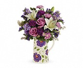 Mulberry Flowers - Teleflora's Garden Pitcher Bouquet - Petals, The Flower Shoppe, Etc.