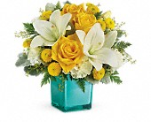 Teleflora's Golden Laughter Bouquet in St. Clair Shores MI, DeRos Delicacies