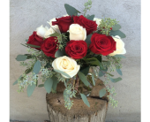 RED AND WHITE ROSES by Rubrums in Ossining NY, Rubrums Florist Ltd.
