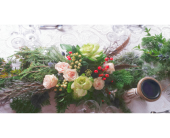 Holiday Rose, Kale & Berry Centerpiece in Tempe AZ, God's Garden Treasures