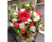 Coral & Cream Wedding Bouquet in Ammon ID, Petal Passion
