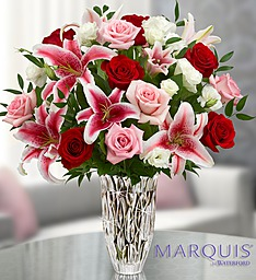 Marquis by Waterford� Red Rose and Lily Bouquet in Jupiter FL, Anna Flowers