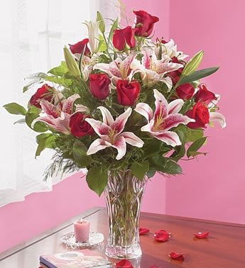 X-Fancy Roses with Lilies in Eagle River AK, Oopsie Daisy LLC.
