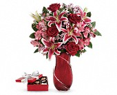 Wrapped With Passion Bouquet with chocolates in Port Alberni BC, Azalea Flowers & Gifts