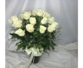 24 WHITE ROSES IN VASE by Rubrums in Ossining NY, Rubrums Florist Ltd.