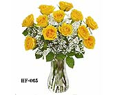 A Dozen Yellow Roses Vased in Monroe CT, Irene's Flower Shop