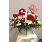 Valentine's  Basket with Bear in Cleveland OH, Filer's Florist Greater Cleveland Flower Co.