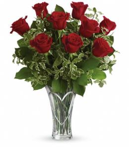 Heart of Roses-1 Dozen-Choose Your Color in Beech Grove IN, Rosebud Flowers & Gifts 1-888-571-7673