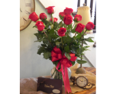 Classic Roses with Chocolates in Westfield MA, Flowers by Webster
