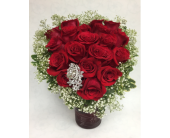 red rose heart with brooch in Staten Island NY, Eltingville Florist Inc.