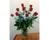 East Naples Flowers - Classic Red Roses & babie's breath - Gene's 5th Ave. Florist