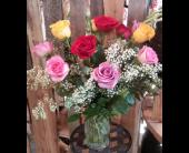 One Dozen mixed colored roses  in Longmont, Colorado, Longmont Florist, Inc.