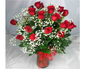 24 LONG STEM RED ROSES IN VASE by Rubrums in Ossining NY, Rubrums Florist Ltd.