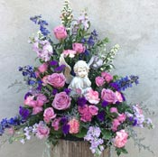GARDEN ANGEL SYMPATHY ARRANGEMENT  by Rubrums in Ossining NY, Rubrums Florist Ltd.