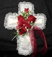 RED ROSE SATIN LACE CROSS in Ossining NY, Rubrums Florist Ltd.