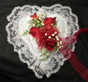 RED ROSE SATIN LACE HEART  in Ossining NY, Rubrums Florist Ltd.