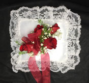 RED ROSE SATIN LACE PILLOW in Ossining NY, Rubrums Florist Ltd.