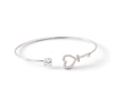 Silver Crystal Heart Bangle Bracelet  in Smyrna GA, Floral Creations Florist