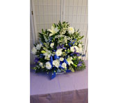 Blue and White Funeral Basket in Dagsboro DE, Blossoms, Inc.