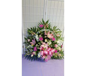 Pink and White Funeral Basket in Dagsboro DE, Blossoms, Inc.