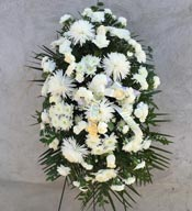 PEACEFUL WHITE STANDING SPRAY  by Rubrums in Ossining NY, Rubrums Florist Ltd.