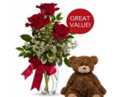 3 Red Roses with Plush Bear in Tacoma WA, Lund Buds & Blooms