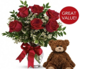 Half Dozen Roses with Plush Bear in Tacoma WA, Lund Buds & Blooms