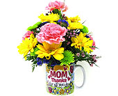 FFMD159  Thanks Mom Mug Bouquet in Oklahoma City OK, Array of Flowers & Gifts