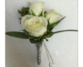 King's White Rose Boutonniere in Waterbury, Connecticut, The Orchid Florist