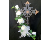 Standing Iron Cross With  Silk White Roses in New Iberia LA, Breaux's Flowers & Video Productions, Inc.