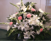 Pink & White Funeral Basket in Louisville KY, Hedman's Suburban Florist
