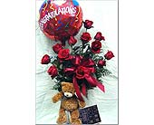 12 Roses with Balloon, Bear & Chocolate in Bound Brook NJ, America's Florist & Gifts