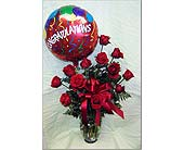 12 Long Stem Roses with Balloon in Bound Brook NJ, America's Florist & Gifts