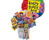 Junk Food Bucket with Balloon in Bound Brook NJ, America's Florist & Gifts