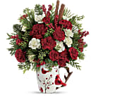 Send a Hug Christmas Cardinal by Teleflora in Greensboro NC, Botanica Flowers and Gifts