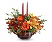 Teleflora's Autumn Gathering Centerpiece in Edmonton AB, Petals For Less Ltd.