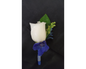Beautiful Blue Boutonniere in Newburgh NY, Foti Flowers at Yuess Gardens