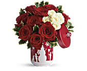 Teleflora's Roses And Holly Bouquet in Edmonton AB, Petals For Less Ltd.