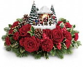 Thomas Kinkade's Visiting Santa Bouquet in Greensboro NC, Botanica Flowers and Gifts
