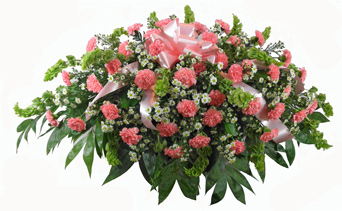 Carnation Garden-Style Casket Spray in Arlington Heights IL, Sylvia's - Amlings Flowers