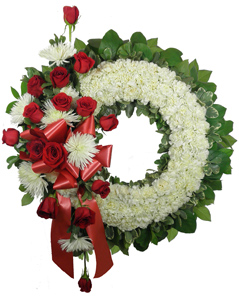 Signature Collection Wreath with Rose and Fuji  in Omaha NE, Piccolo's Florist