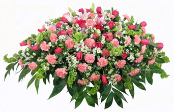 Pink Carnation, Rose and Lily Casket Spray in Manchester, New Hampshire, Chalifour's Flowers