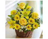 Yellow Rose and Lily Basket in Cicero NY, Guignard Florist