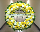 36 INCH CUSTOM COLOR WREATH WITH BANNER in Arlington, Virginia, Twin Towers Florist