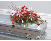 Pink & Red Casket Spray in Miami FL, Creation Station Flowers & Gifts