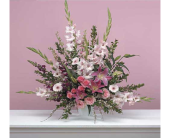 Traditional Pink Fan Arrangement in Miami FL, Creation Station Flowers & Gifts